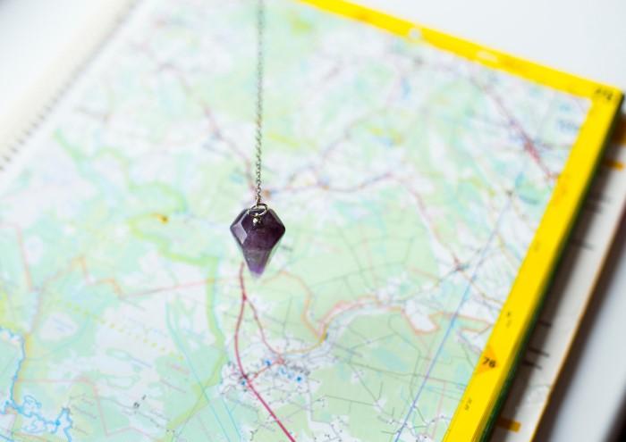 Amethyst gemstone on map