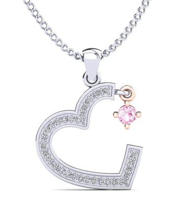 White Diamond Heart Necklace