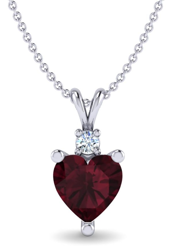 garnet necklace heart shaped