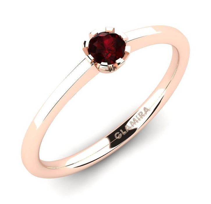 garnet solitaire rose gold