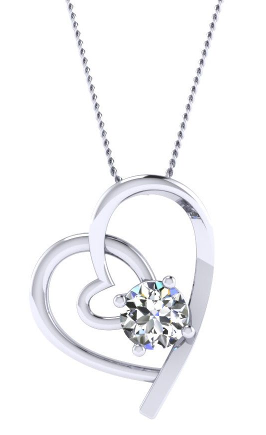 Valentines Gift Diamond Heart Necklace